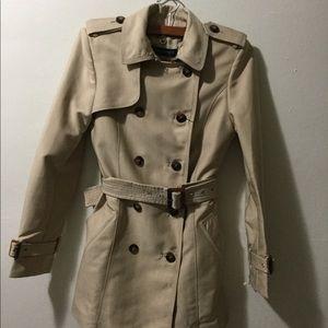 Zara Khaki Double-Breasted Trench Coat